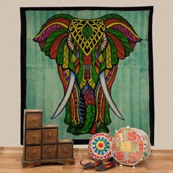 Kunst und Magie XL Tagesdecke Wandbehang Deko Elefant Meditation UV Aktiv  ca. 200 x 230 cm  – Bild 1