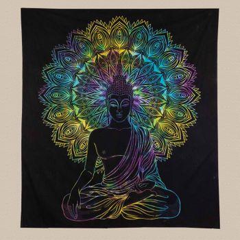 Kunst und Magie XL Tagesdecke Wandbehang Deko Buddha Meditation UV Aktiv  ca. 200 x 230 cm  – Bild 3