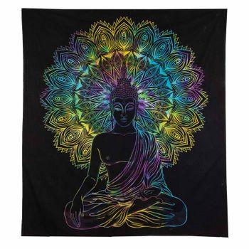 Kunst und Magie XL Tagesdecke Wandbehang Deko Buddha Meditation UV Aktiv  ca. 200 x 230 cm  – Bild 4