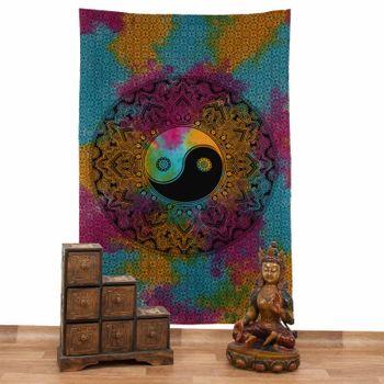 Kunst und Magie Tagesdecke Wandbehang Buntes Tuch Ying & Yang  Mandala ca. 200 x 135 cm  – Bild 2