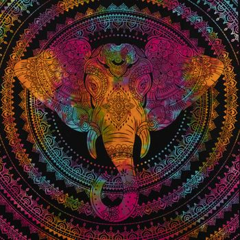 Kunst und Magie Tagesdecke Wandbehang Deko Tuch Elefantenkopf  Mandala ca. 200 x 135 cm  – Bild 4