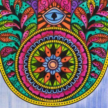 Kunst und Magie Tagesdecke Wandbehang Deko Tuch Hamsa Hand UV Aktiv  ca. 200 x 135 cm  – Bild 7