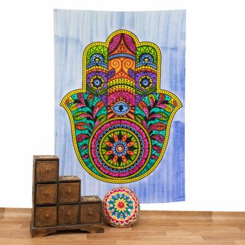 Kunst und Magie Tagesdecke Wandbehang Deko Tuch Hamsa Hand UV Aktiv  ca. 200 x 135 cm  – Bild 1