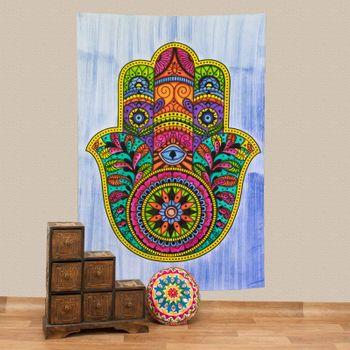 Kunst und Magie Tagesdecke Wandbehang Deko Tuch Hamsa Hand UV Aktiv  ca. 200 x 135 cm  – Bild 2