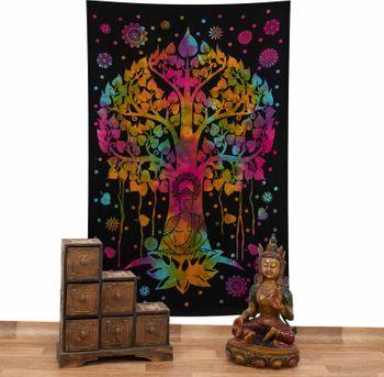 Kunst und Magie Tagesdecke Wandbehang Bunt Deko Tuch Buddha Bodhi Baum Meditation ca. 200x135cm – Bild 2