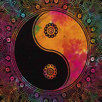 Kunst und Magie Tagesdecke Wandbehang Buntes Tuch Ying & Yang  Mandala ca. 200 x 135 cm  – Bild 4