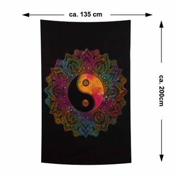 Kunst und Magie Tagesdecke Wandbehang Buntes Tuch Ying & Yang  Mandala ca. 200 x 135 cm  – Bild 6