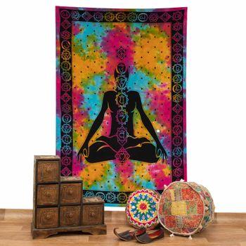 Kunst und Magie Tagesdecke Wandbehang Bunt Deko Tuch Buddha Chackra Meditation ca.200x135cm – Bild 2