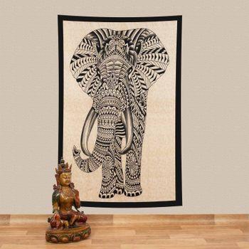Kunst und Magie Tagesdecke Wandbehang Deko Tuch Elefant UV Aktiv  ca. 200 x 135 cm  – Bild 1