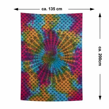Kunst und Magie Tagesdecke Dekotuch Wandbehang buntes Deko Tuch Indien Mandala ca200x135cm – Bild 5