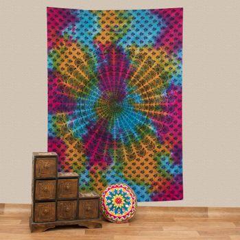 Kunst und Magie Tagesdecke Dekotuch Wandbehang buntes Deko Tuch Indien Mandala ca200x135cm – Bild 1