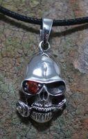 Totenkopf mit Stein und Rose Skull Biker Gothic WgT Silber 001