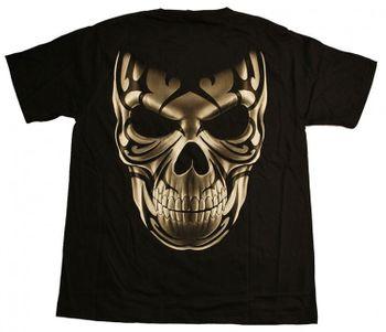 Gothic / Biker T-Shirt mit Totenschädel Aufdruck Skull schwarz – Bild 2