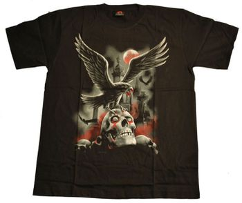 Gothic T-Shirt Raven on Graveyard – Bild 1