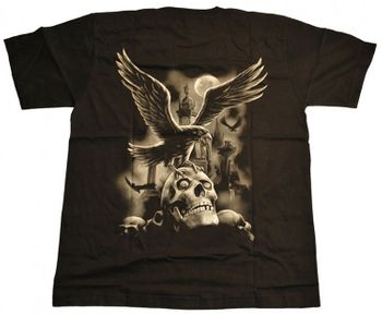 Gothic T-Shirt Raven on Graveyard – Bild 2