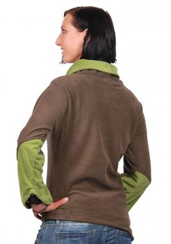 Fleece Sweater with Turtleneck Goa Psy Hippie Fraggle Brown/Lemon – Bild 5