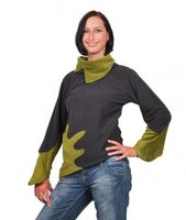 Fleece Sweater with Turtleneck Goa Psy Hippie Fraggle Grey/Green