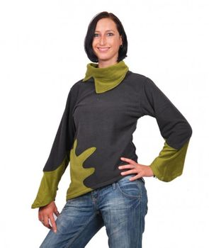 Fleece Sweater with Turtleneck Goa Psy Hippie Fraggle Grey/Green – Bild 1