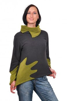 Fleece Sweater with Turtleneck Goa Psy Hippie Fraggle Grey/Green – Bild 2