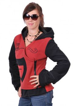 Fleece Jacket with Elfin Hood Goa Psy Hippie Fraggle red/black – Bild 2