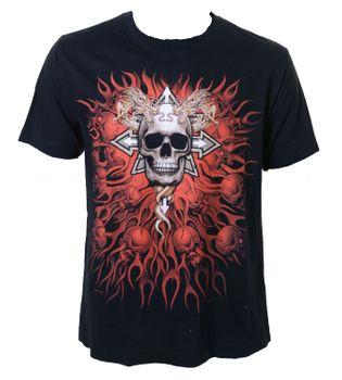 Biker T-Shirt Chaos Star Death Metal Gothic Skull