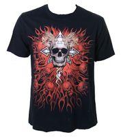 Biker T-Shirt Chaos Star Death Metal Gothic Skull 001