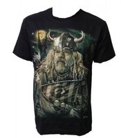 "Nordic Fantasy T-Shirt ""Viking Warrior with Norse boat"" 001"