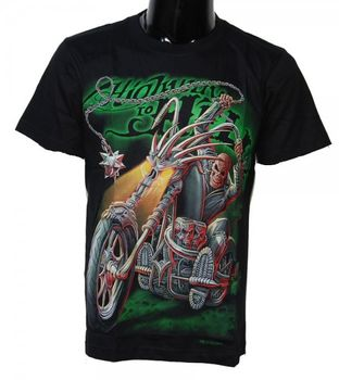 "Biker T-Shirt ""Highway to Hell"" Zombie Skull – Bild 1"