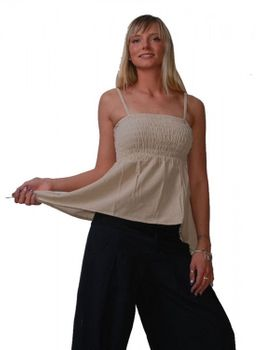 Psy Goa Strap Top Tunic Hippie Beach Beige – Bild 1