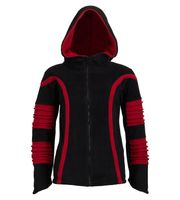 Psy Goa Fleece Hippie Jacket with Elfin Hood black/red