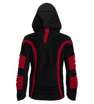 Psy Goa Fleece Hippie Jacket with Elfin Hood black/red – Bild 3