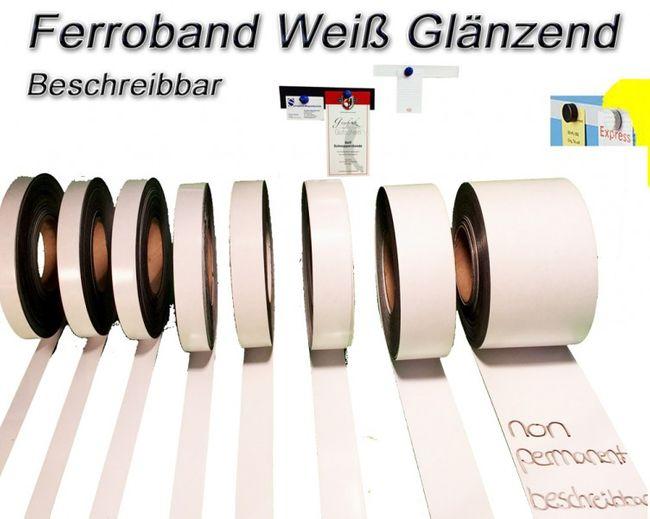Eisen/-Ferroband Weiß Glänzend  0,6mm