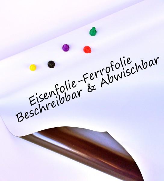 Eisenfolie Ferrofolie Weiß Glänzend beschreibbar selbstklebend 1000mm x Meterware