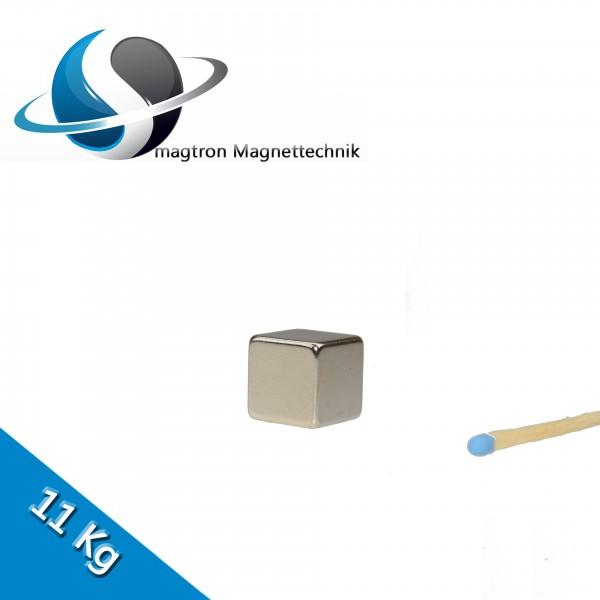 Würfelmagnet 15,0 x 15,0 x 15,0 mm N45 Nickel