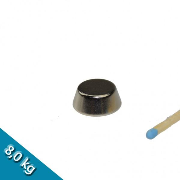 Konusmagnet Ø 20,0/15,0 x 8,0 mm N40 Nickel - hält 8 kg
