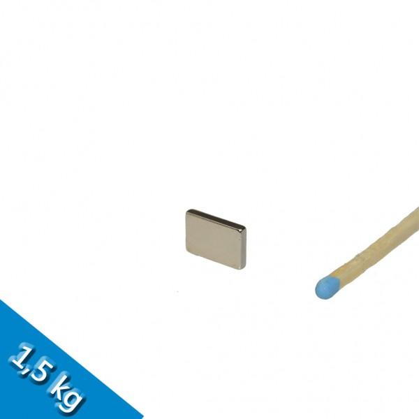 Quadermagnet 12 x 8 x 2 mm N50 Nickel - hält 1,5kg