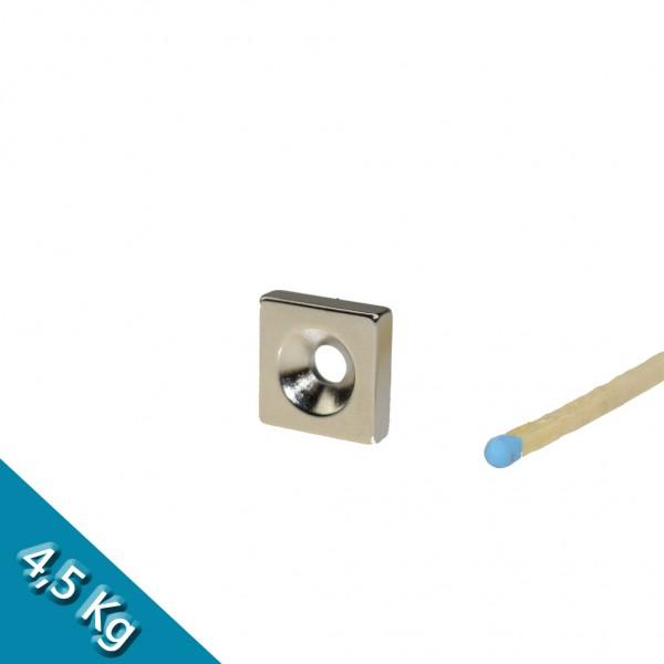 Quadermagnet 15,0 x 15,0 x 4,0 mm N35 Nickel mit Senkloch