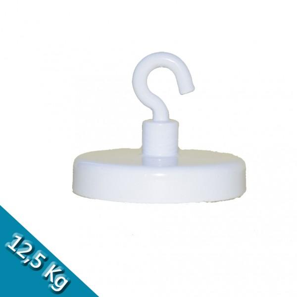 Hakenmagnet Ø 40 mm FERRIT - weiß - hält 12,5 kg