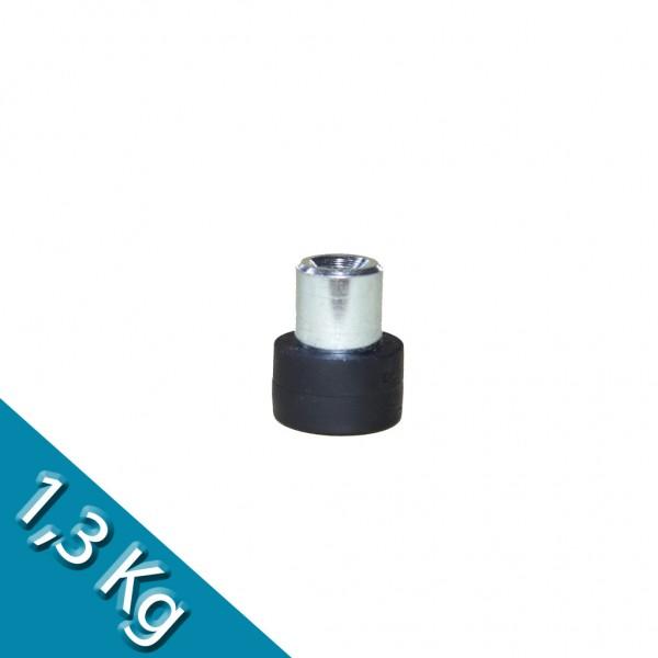 Magnetsystem Ø 12 mm gummiert mit Buchse M4 - hält 1,3 kg