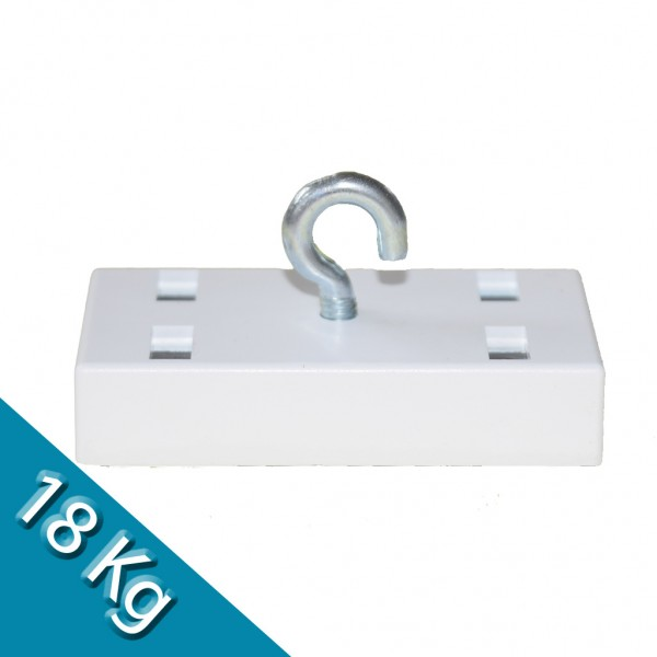 Leistenmagnet 53 x 27 mm Ferrit mit Haken, weiß - hält 18 kg