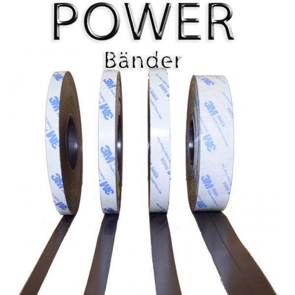 POWER Magnetband mit 3M Kleber Kleberücken selbstklebend Powerband 25,4mm breite