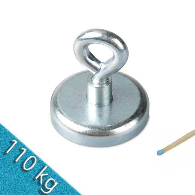 Ösenmagnet Ø 60 mm NEODYM - Zink - hält 110 kg