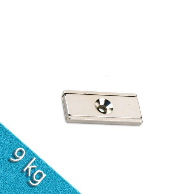 Neodym Flachleiste 30 x 13 x 5 mm mit Bohrung und Senkung - 9 kg