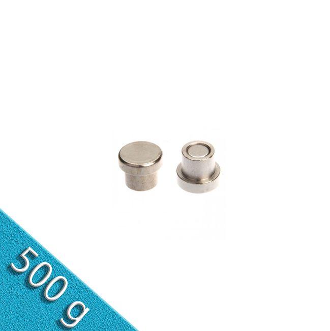 Memomagnet aus Stahl Ø 10 x 8 mm - hält 500 gr