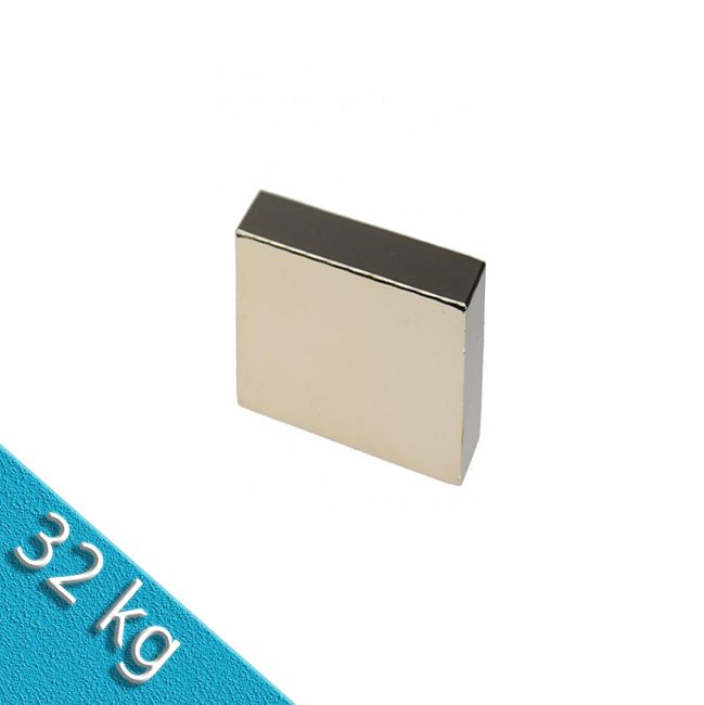 Quadermagnet 30,0 x 30,0 x 15,0 mm N45 Nickel - hält 32 kg