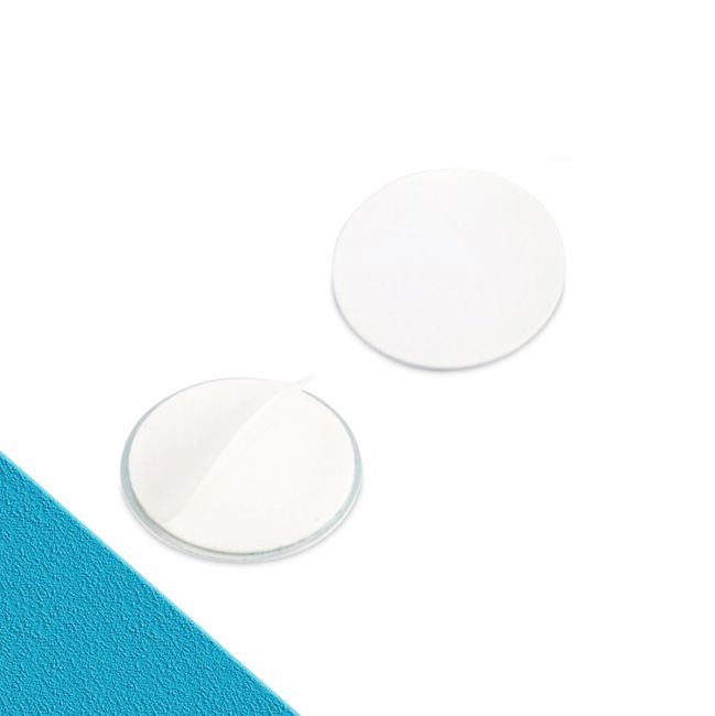 Metallscheibe Ø 40 mit Doppelklebeband weiß   Haftgrund für Magnete