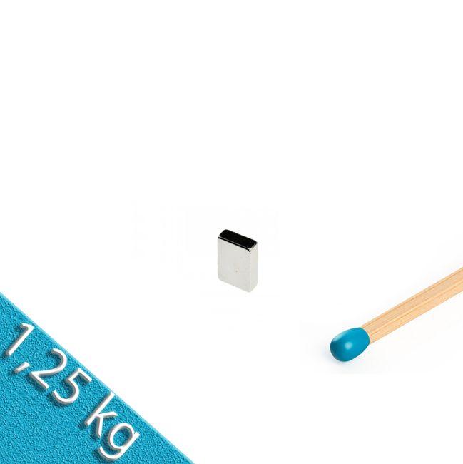 Quadermagnet 10,0 x 6,0 x 2,0 mm N52 Nickel - hält 1,25 kg