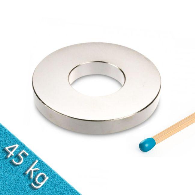 Ringmagnet Ø 70,0 x 30,0 x 10,0 mm N42 Nickel - hält 45 kg