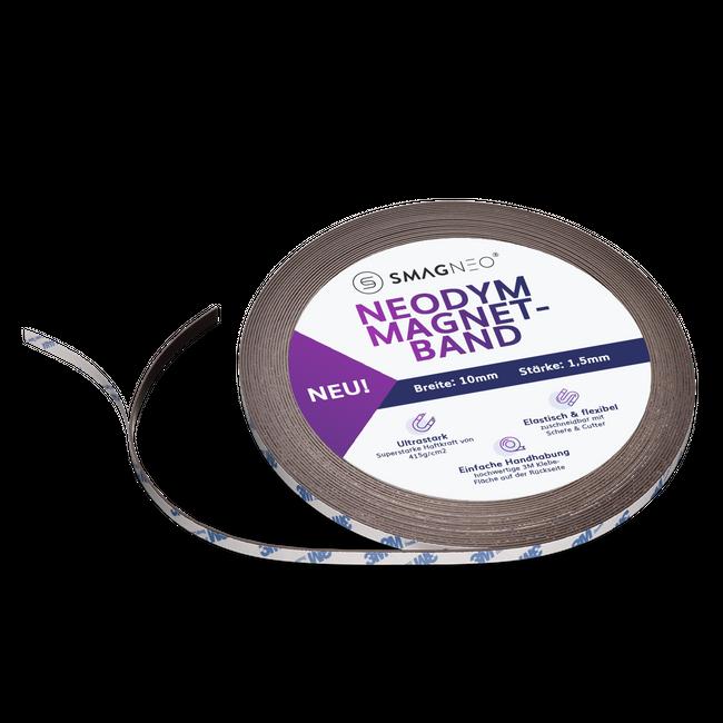 NEODYM Power-Magnetband METERWARE x 10mm x 1,5 mm selbstklebend