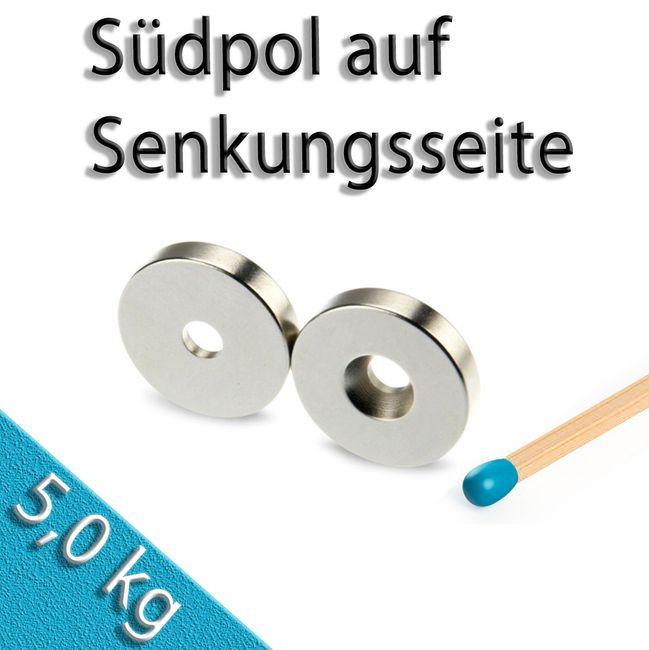 Ringmagnet Ø 20,0 x 4,5 x 4,0 mm N42 Nickel mit Senkung Süd